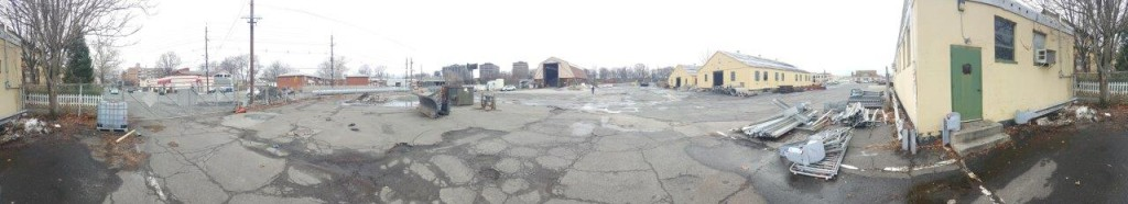 2. Panoramic shed and yellow bldgs