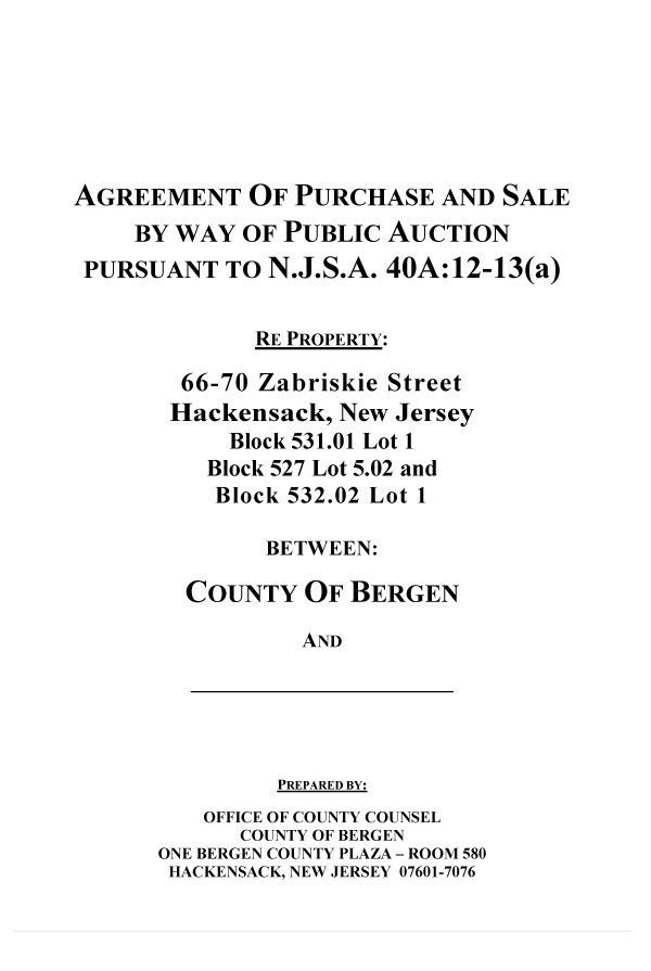 Agreement Of Purchase & Sale - Excellent Opportunity For